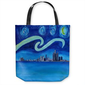 Unique Shoulder Bag Tote Bags | Markus Bleichner - Starry Night Detroit Skyline | City cityscape buildings downtown Michigan van Gogh