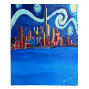 Decorative Fleece Throw Blankets | Markus Bleichner - Starry Night In New York City Van Gogh