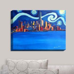 Decorative Canvas Wall Art | Markus Bleichner - Starry Night In New York City Van Gogh | NYC Van Gogh Starry Night Skyline