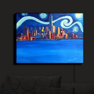 Nightlight Sconce Canvas Light | Markus Bleichner - Starry Night In New York City Van Gogh | NYC Van Gogh Starry Night Skyline