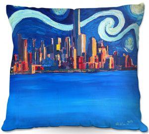 Throw Pillows Decorative Artistic   Markus Bleichner - Starry Night In New York City Van Gogh