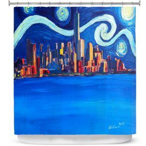 Premium Shower Curtains | Markus Bleichner - Starry Night In New York City Van Gogh