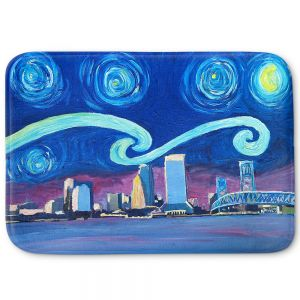 Decorative Bathroom Mats | Markus Bleichner - Starry Night Jacksonville Skyline | City cityscape buildings downtown Florida van Gogh