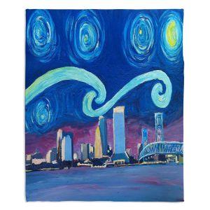 Decorative Fleece Throw Blankets | Markus Bleichner - Starry Night Jacksonville Skyline | City cityscape buildings downtown Florida van Gogh
