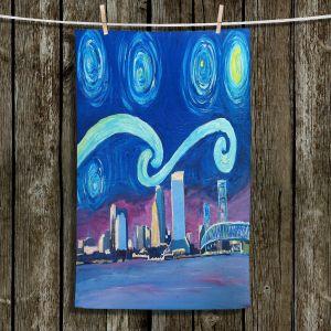 Unique Bathroom Towels | Markus Bleichner - Starry Night Jacksonville Skyline | City cityscape buildings downtown Florida van Gogh