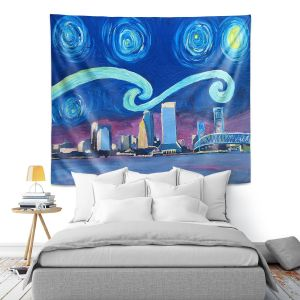 Artistic Wall Tapestry | Markus Bleichner - Starry Night Jacksonville Skyline | City cityscape buildings downtown Florida van Gogh