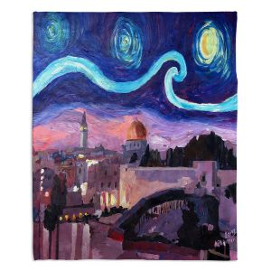 Artistic Sherpa Pile Blankets | Markus Bleichner - Starry Night Jerusalem | Starry Night Jerusalem