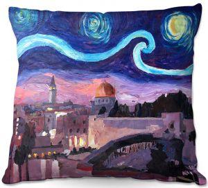Decorative Outdoor Patio Pillow Cushion   Markus Bleichner - Starry Night Jerusalem   Starry Night Jerusalem