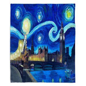 Artistic Sherpa Pile Blankets | Markus Bleichner - Starry Night London Van Gogh