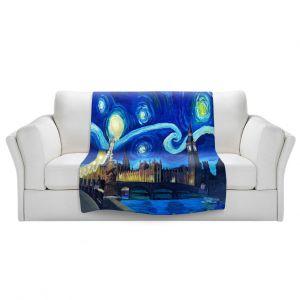 Artistic Sherpa Pile Blankets   Markus Bleichner - Starry Night London Van Gogh