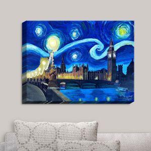 Decorative Canvas Wall Art | Markus Bleichner - Starry Night London Van Gogh | London Starry Night Van Gogh