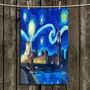 Unique Hanging Tea Towels | Markus Bleichner - Starry Night London Van Gogh | London Starry Night Van Gogh