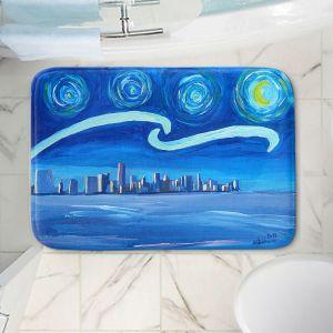 Decorative Bathroom Mats   Markus Bleichner - Starry Night Miami Skyline   City cityscape buildings downtown Florida van Gogh