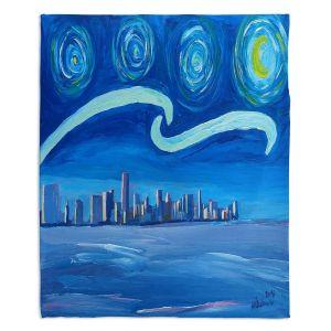 Decorative Fleece Throw Blankets | Markus Bleichner - Starry Night Miami Skyline | City cityscape buildings downtown Florida van Gogh