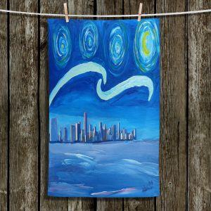 Unique Bathroom Towels | Markus Bleichner - Starry Night Miami Skyline | City cityscape buildings downtown Florida van Gogh