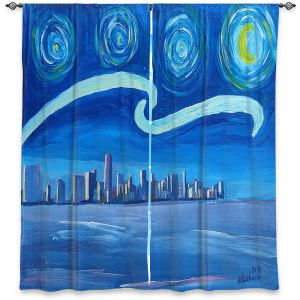 Decorative Window Treatments | Markus Bleichner - Starry Night Miami Skyline | City cityscape buildings downtown Florida van Gogh
