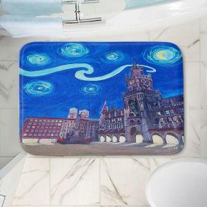 Decorative Bathroom Mats | Markus Bleichner - Starry Night Munich Church | City cityscape buildings downtown Germany van Gogh