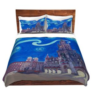 Artistic Duvet Covers and Shams Bedding | Markus Bleichner - Starry Night Munich Church | City cityscape buildings downtown Germany van Gogh