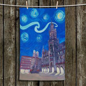 Unique Bathroom Towels | Markus Bleichner - Starry Night Munich Church | City cityscape buildings downtown Germany van Gogh