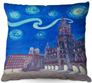 Throw Pillows Decorative Artistic | Markus Bleichner - Starry Night Munich Church | City cityscape buildings downtown Germany van Gogh