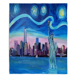 Decorative Fleece Throw Blankets | Markus Bleichner - Starry Night New York City | NY City Skyline Starry Night Statue of Liberty
