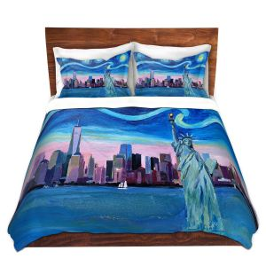 Artistic Duvet Covers and Shams Bedding | Markus Bleichner - Starry Night New York City | NY City Skyline Starry Night Statue of Liberty