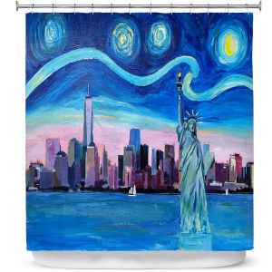 Premium Shower Curtains | Markus Bleichner - Starry Night New York City | NY City Skyline Starry Night Statue of Liberty
