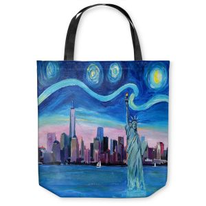 Unique Shoulder Bag Tote Bags   Markus Bleichner - Starry Night New York City   NY City Skyline Starry Night Statue of Liberty