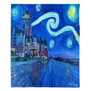 Decorative Fleece Throw Blankets | Markus Bleichner - Starry Night Quebec Chateau Van Gogh