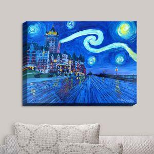 Decorative Canvas Wall Art   Markus Bleichner - Starry Night Quebec Chateau Van Gogh   Quebec Chateau Starry Night Van Gogh