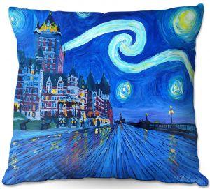 Decorative Outdoor Patio Pillow Cushion | Markus Bleichner - Starry Night Quebec Chateau Van Gogh