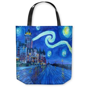 Unique Shoulder Bag Tote Bags |Markus Bleichner - Starry Night Quebec Chateau Van Gogh
