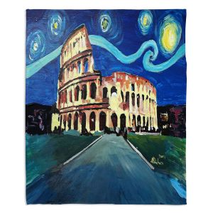 Decorative Fleece Throw Blankets | Markus Bleichner - Starry Night Rome Colloseum | Rome Starry Night Colloseum