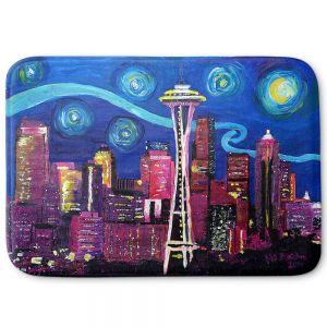 Decorative Bathroom Mats | Markus Bleichner - Starry Night Seattle | Starry Night Seattle Space Needle