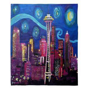 Decorative Fleece Throw Blankets | Markus Bleichner - Starry Night Seattle | Starry Night Seattle Space Needle