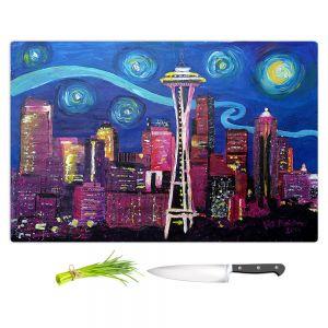 Artistic Kitchen Bar Cutting Boards | Markus Bleichner - Starry Night Seattle | Starry Night Seattle Space Needle