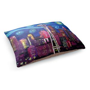 Decorative Dog Pet Beds | Markus Bleichner - Starry Night Seattle | Starry Night Seattle Space Needle