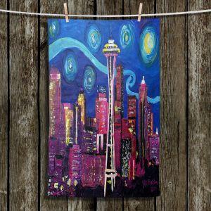 Unique Bathroom Towels | Markus Bleichner - Starry Night Seattle | Starry Night Seattle Space Needle