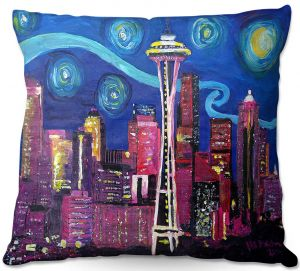 Decorative Outdoor Patio Pillow Cushion | Markus Bleichner - Starry Night Seattle | Starry Night Seattle Space Needle