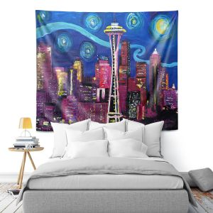 Artistic Wall Tapestry | Markus Bleichner - Starry Night Seattle | Starry Night Seattle Space Needle