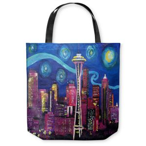 Unique Shoulder Bag Tote Bags | Markus Bleichner - Starry Night Seattle | Starry Night Seattle Space Needle