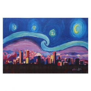 Decorative Floor Coverings | Markus Bleichner - Starry Night Denver | Vincent Van Gogh Skyline Cityscape Mountains Colorado