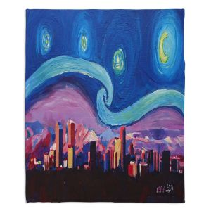 Artistic Sherpa Pile Blankets | Markus Bleichner - Starry Night Denver | Vincent Van Gogh Skyline Cityscape Mountains Colorado
