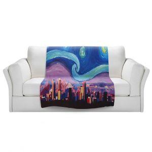 Artistic Sherpa Pile Blankets | Markus Bleichner - Starry Night Denver | Vincent Van Gogh Skyline Cityscape Mountains Colorado
