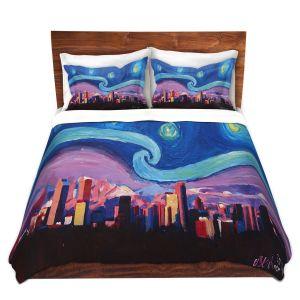 Artistic Duvet Covers and Shams Bedding   Markus Bleichner - Starry Night Denver   Vincent Van Gogh Skyline Cityscape Mountains Colorado