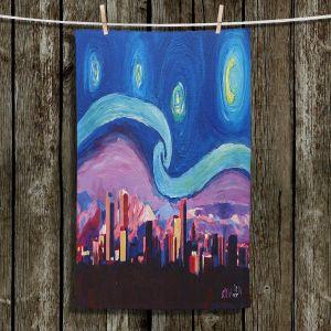 Unique Bathroom Towels | Markus Bleichner - Starry Night Denver | Vincent Van Gogh Skyline Cityscape Mountains Colorado