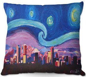 Decorative Outdoor Patio Pillow Cushion | Markus Bleichner - Starry Night Denver | Vincent Van Gogh Skyline Cityscape Mountains Colorado