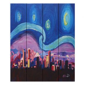 Decorative Wood Plank Wall Art | Markus Bleichner - Starry Night Denver | Vincent Van Gogh Skyline Cityscape Mountains Colorado