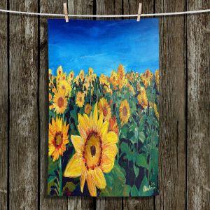 Unique Hanging Tea Towels   Markus Bleichner - Sunflower Fields   Flowers Sunflowers Fields Nature Outdoors