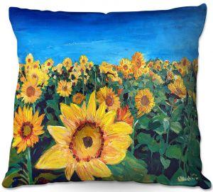 Decorative Outdoor Patio Pillow Cushion   Markus Bleichner - Sunflower Fields